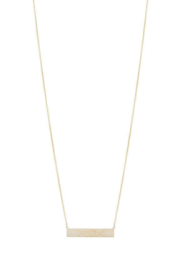 Genevieve Lau 14K Yellow Gold Loved Bar Necklace
