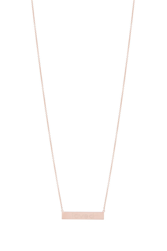 Genevieve Lau 14K Rose Gold Loved Bar Necklace