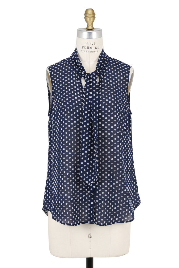 L'Agence Natalia Navy Printed Tie-Neck Sleeveless Blouse