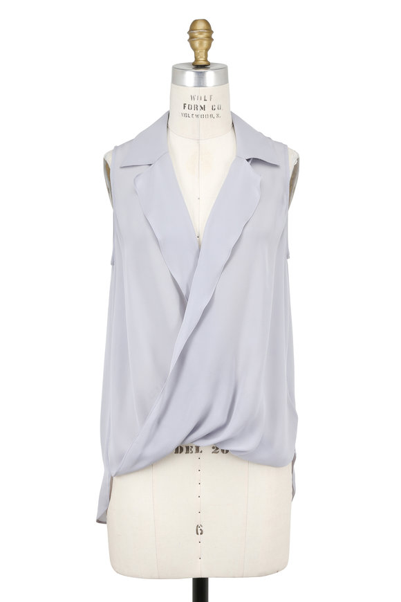 L'Agence Pearl Cloud Silk Draped Sleeveless Blouse