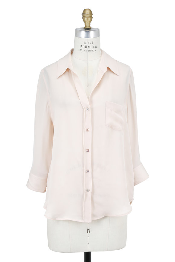 L'Agence Ryan Blush Silk Three-Quarter Sleeve Blouse