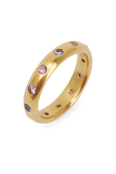 Caroline Ellen - Yellow Gold Pink Sapphire Ring