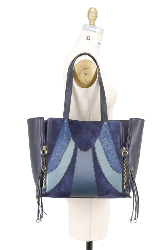 Chloé Milo Blue Suede & Leather Patchwork Tote