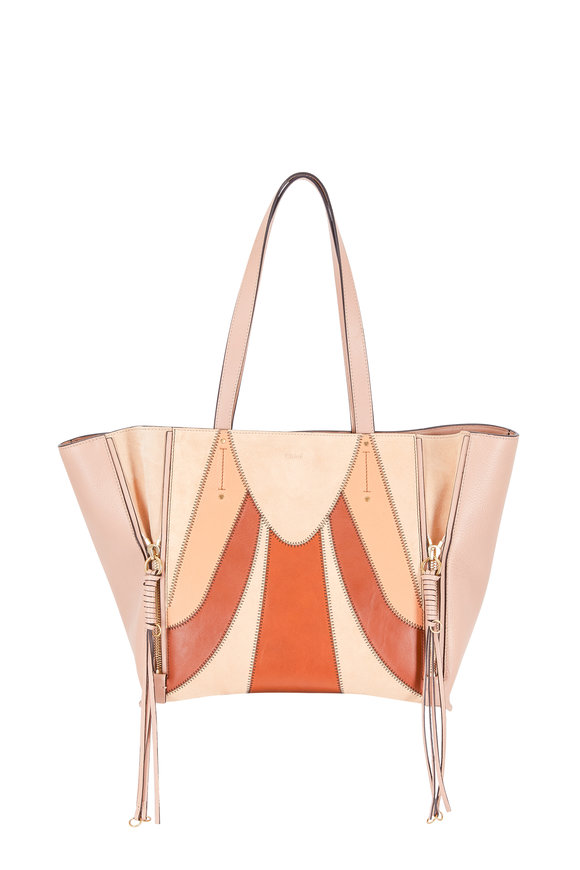 Chloé Milo Beige Suede & Leather Patchwork Tote