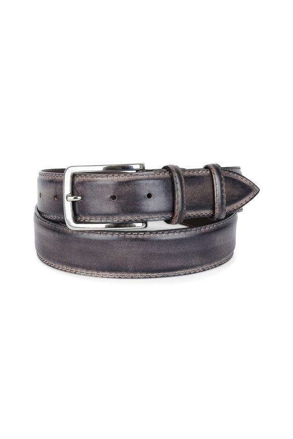 belts for men designer zbit  Bontoni Gray Leather Belt
