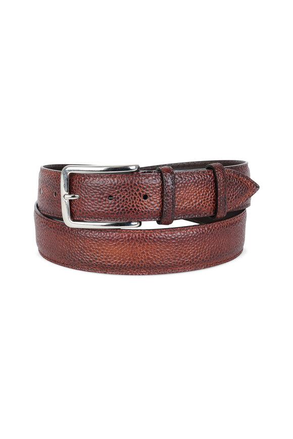 Bontoni Brown Pebbled Leather Belt