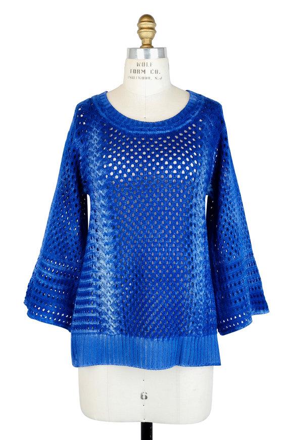 Agnona Blue Open Knit Bell Sleeve Sweater