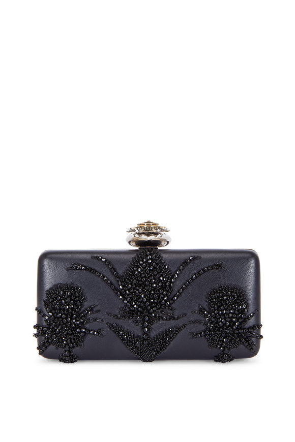 Alexander McQueen Heart Black Leather Embroidered Frame Clutch