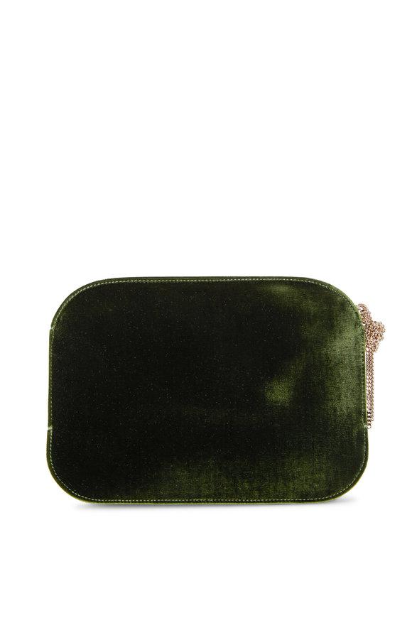 Nina Ricci Elide Military Green Velvet Clutch