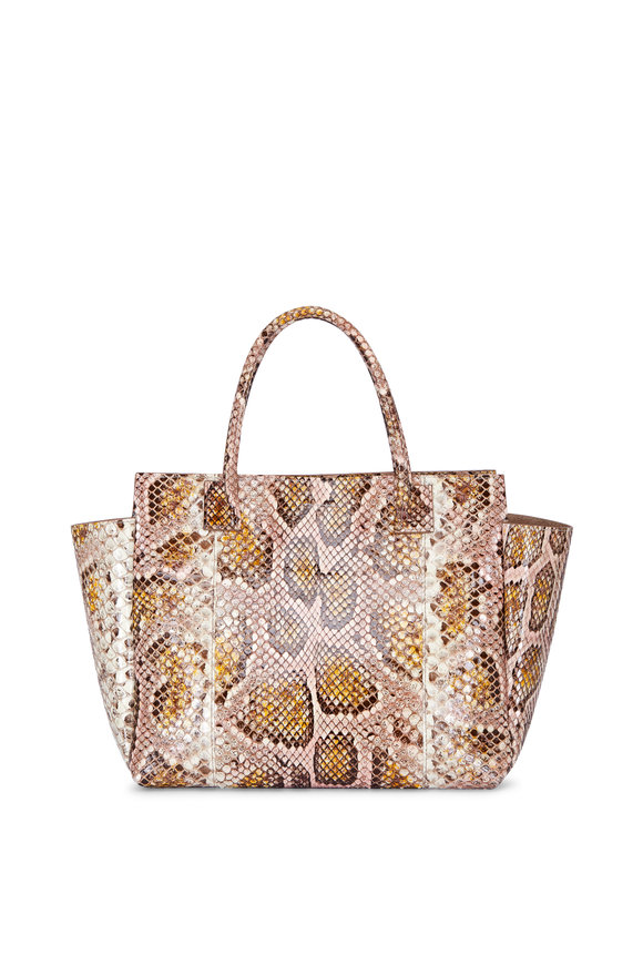 B May Bags Catchall Blossom Python Satchel