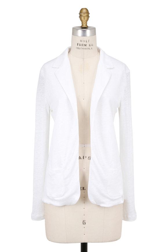 Majestic White Linen Open Front Blazer