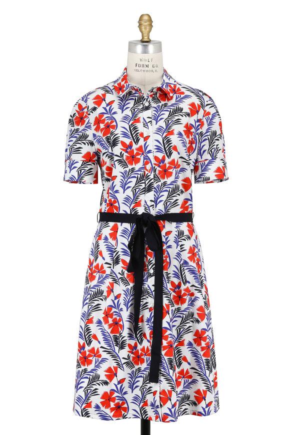 Carolina Herrera White & Red Poppy Print Short Sleeve Shirtdress