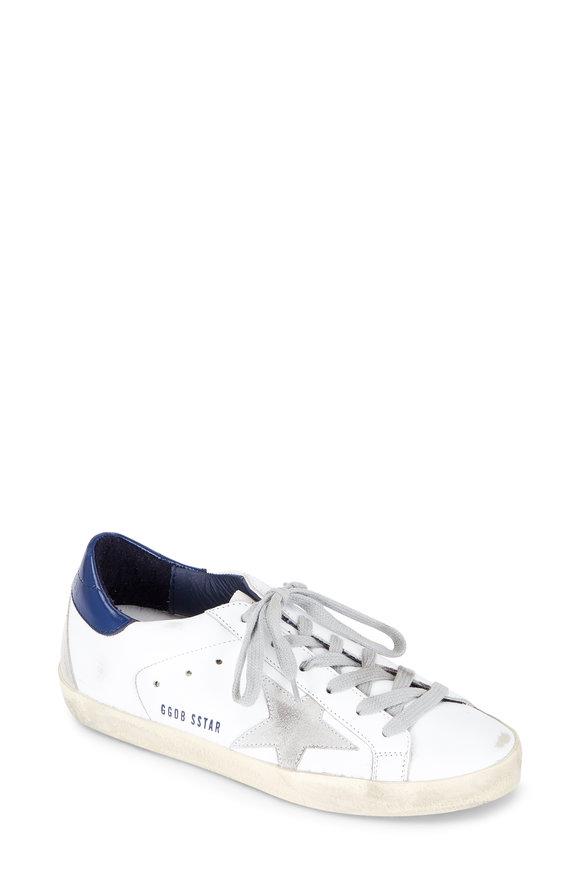 Golden Goose Women's Superstar White Leather Navy Trim Sneaker
