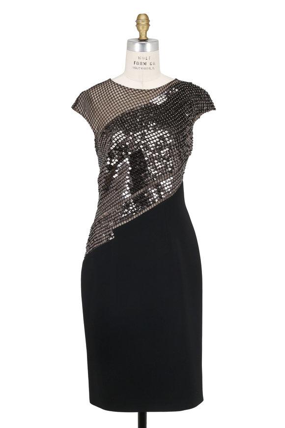 Pamella Roland Black Stretch Crêpe Cap Sleeve Cocktail Dress