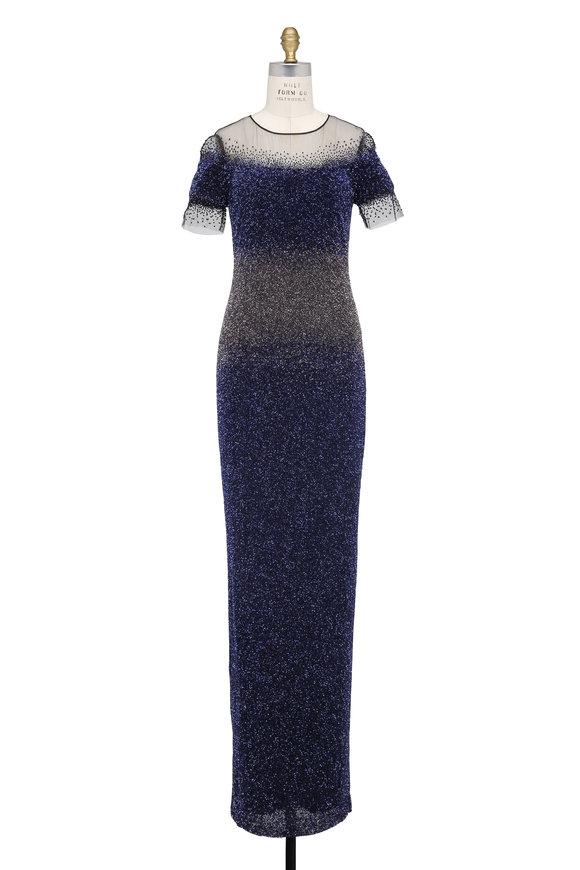 Pamella Roland Silver & Blue Sequin Ombré Short Sleeve Gown