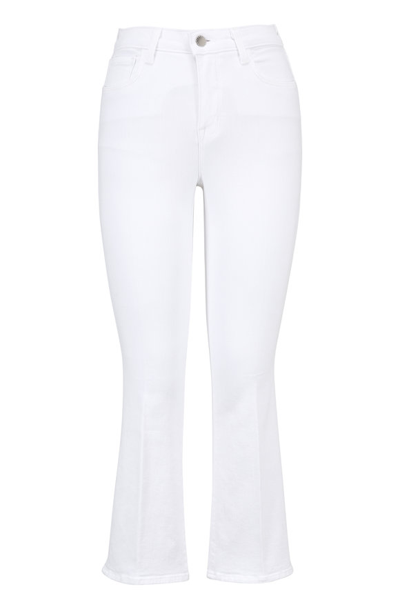 L'Agence Serena White High-Rise Cropped Baby Flare Jean