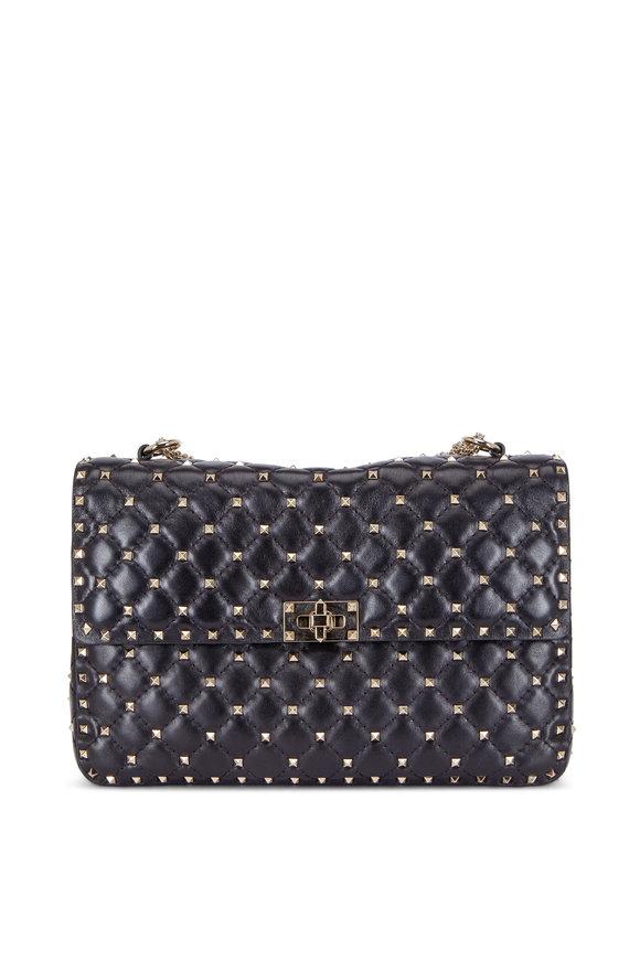 Valentino Rockstud Black Leather Quilted Large Shoulder Bag