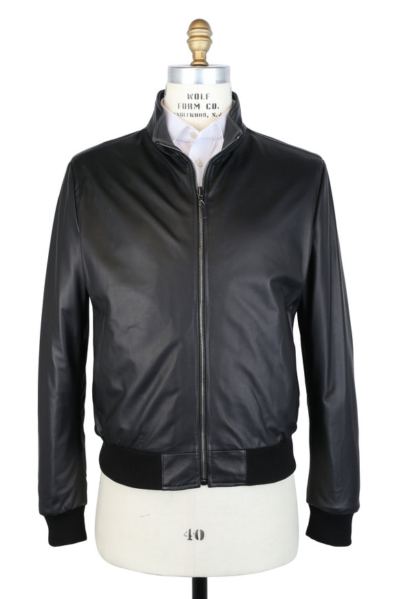 Maurizio Baldassari Black Leather Bomber Jacket