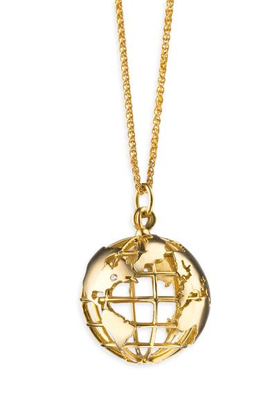 Monica Rich Kosann - 18K Yellow Gold Earth Charm Necklace