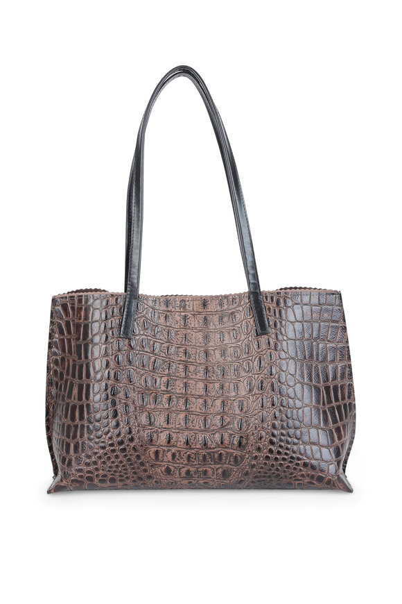 B May Bags Saddle Crocodile Embossed Leather Tote