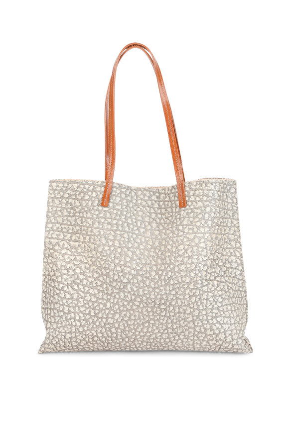 B May Bags Sesame Crocodile Embossed Leather Shopper Tote