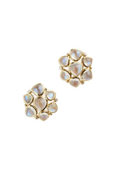 Temple St. Clair - 18K Gold Moonstone & Diamond Earrings, 24mm