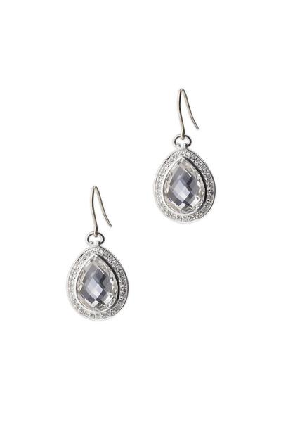 Monica Rich Kosann - Sterling Silver Teardrop Rock Crystal Earrings