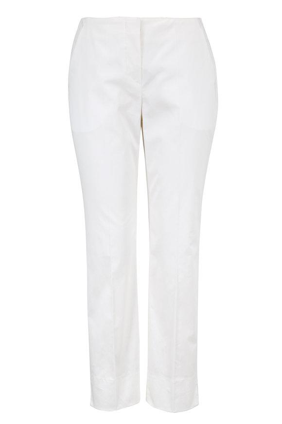 Armani Collezioni White Stretch Cotton Ankle Pant