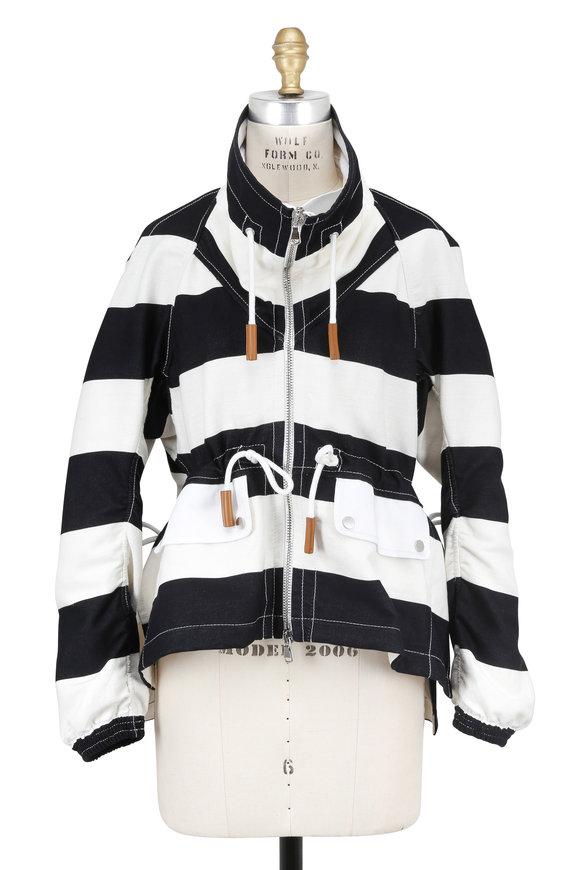 Derek Lam Black & Ivory Bold Striped Cropped Anorak