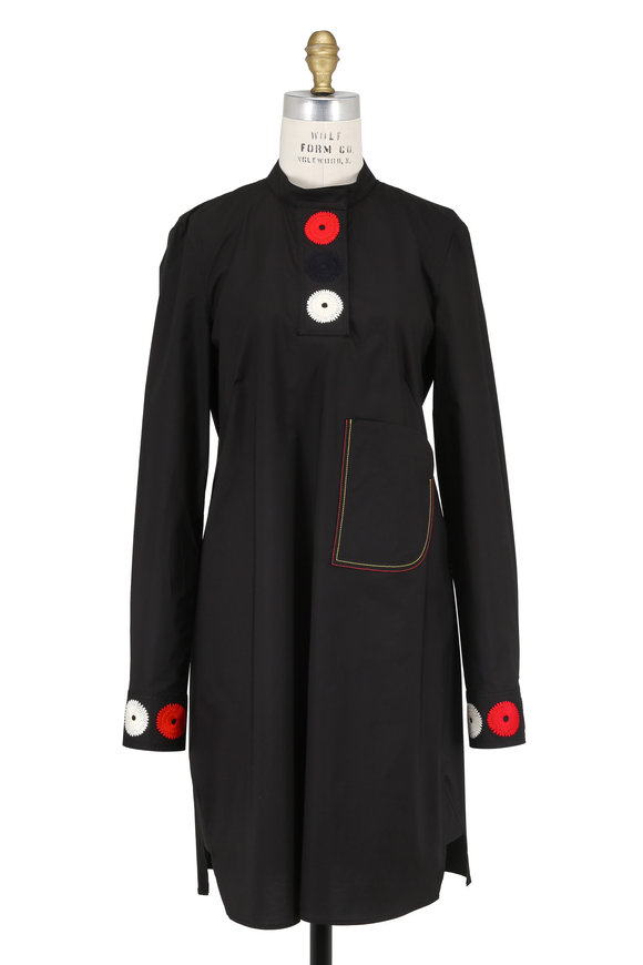 Derek Lam Black Embroidered Collarless Shirtdress