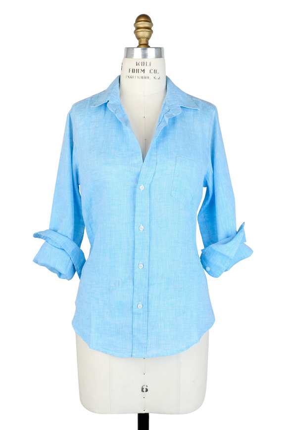 Frank & Eileen Barry Turquoise Linen Button Down