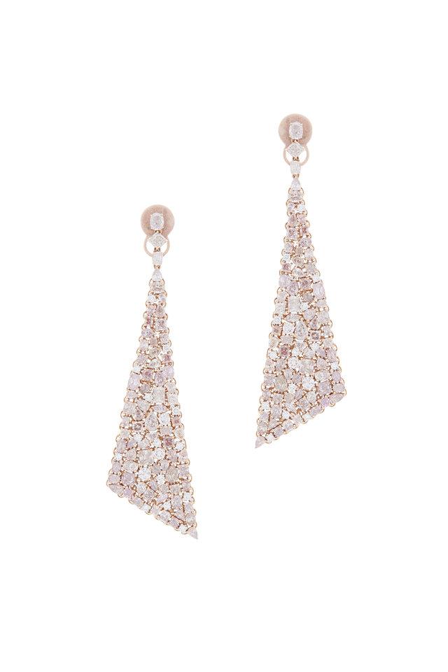 18K Rose Gold Pink & White Diamond Earrings