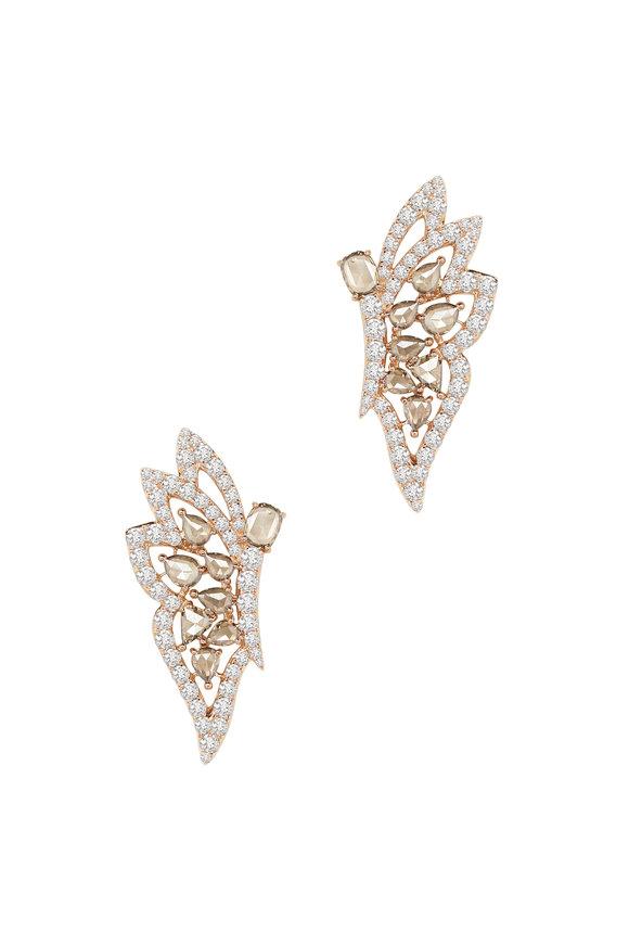 Sutra 18K Rose Gold Diamond Earrings