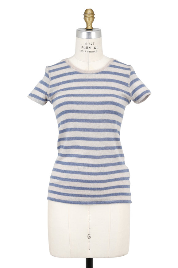 Majestic Beige & Blue Striped Cashmere Short Sleeve Sweater