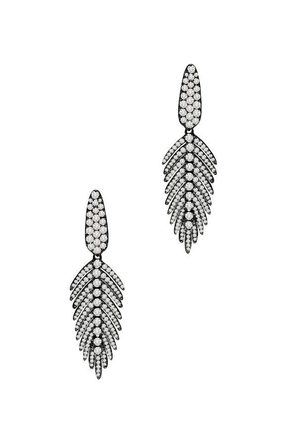 Sutra 18K Blackened Gold Diamond Feather Earrings