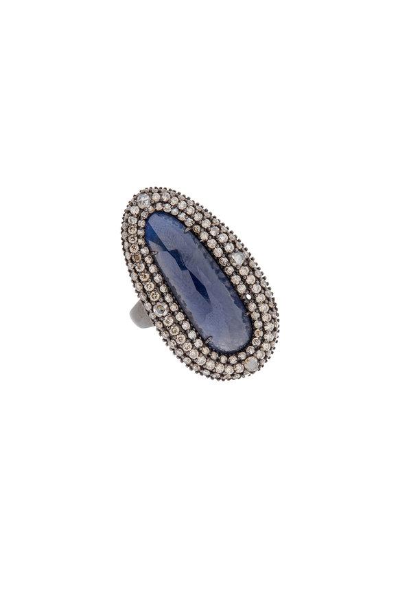 Sutra 18K Blackened Gold Rough Sapphire & Diamond Ring