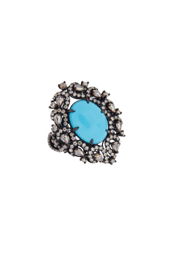 Sutra 18K Blackened Gold Turquoise & Diamond Ring