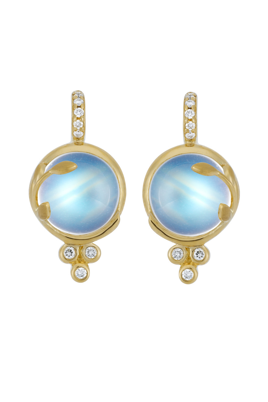 Round Gold Blue Moonstone Vine Diamond Earrings