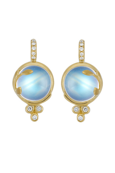 Temple St. Clair - Round Gold Blue Moonstone Vine Diamond Earrings