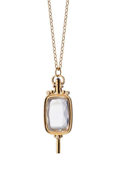 Monica Rich Kosann - Yellow Gold Crystal Pocketwatch Key Necklace
