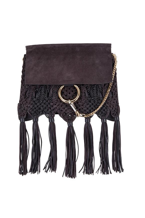 Chloé Faye Carbon Braided Leather & Suede Shoulder Bag