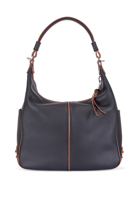 Tod's Miky Black Leather Medium Hobo Bag