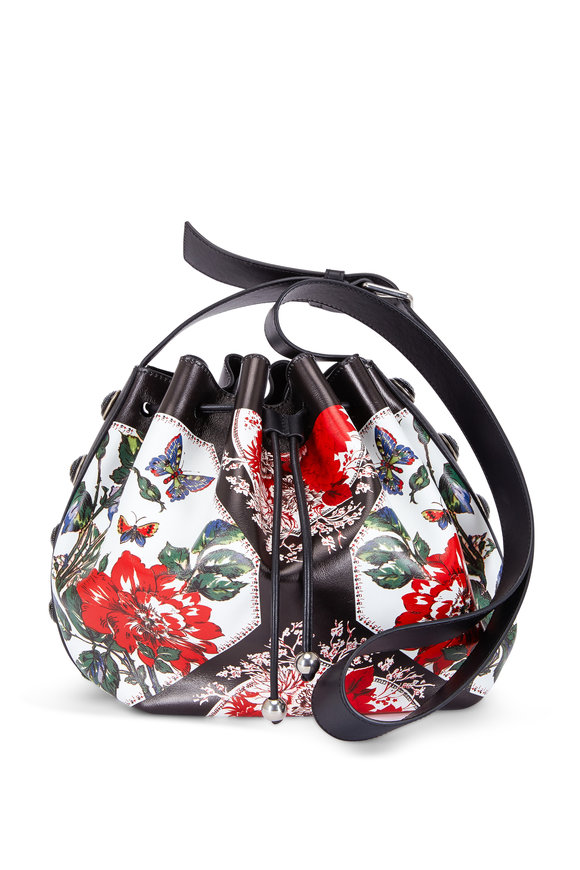 Alexander McQueen White Leather Floral Printed Bucket Bag
