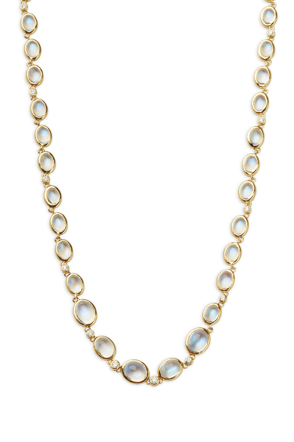 Temple St. Clair 18K Yellow Gold Blue Moonstone & Diamond Necklace