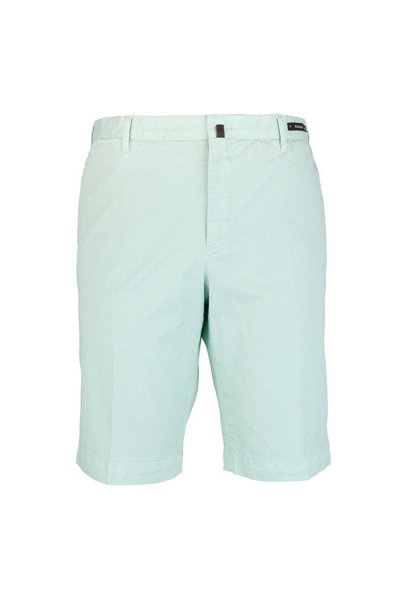 PT01 Light Green Stretch Cotton Shorts