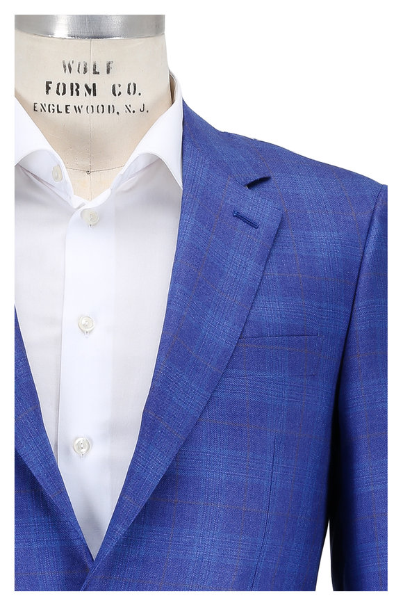 Canali Blue Windowpane Cashmere & Silk Sportcoat