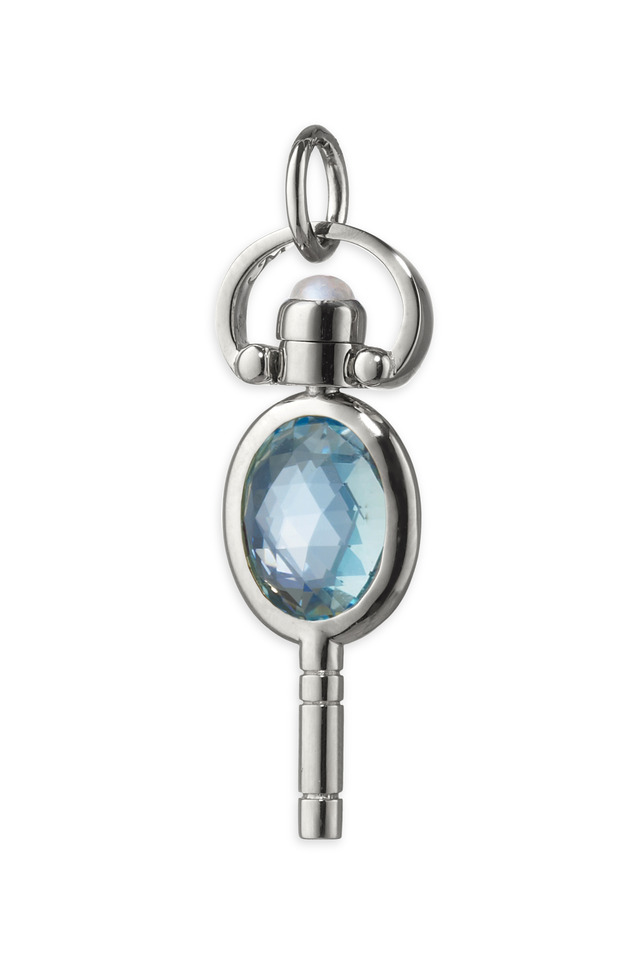 Sterling Silver Topaz Pocketwatch Key Necklace