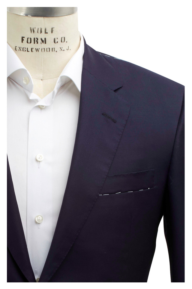 Capital Solid Navy Blue Wool Suit