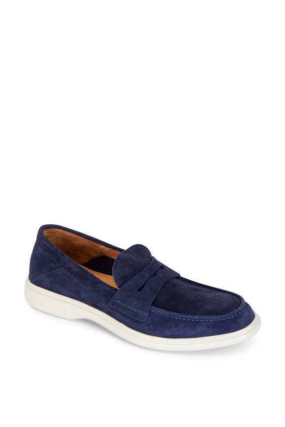 George Brown Foster Navy Blue Suede Penny Loafer