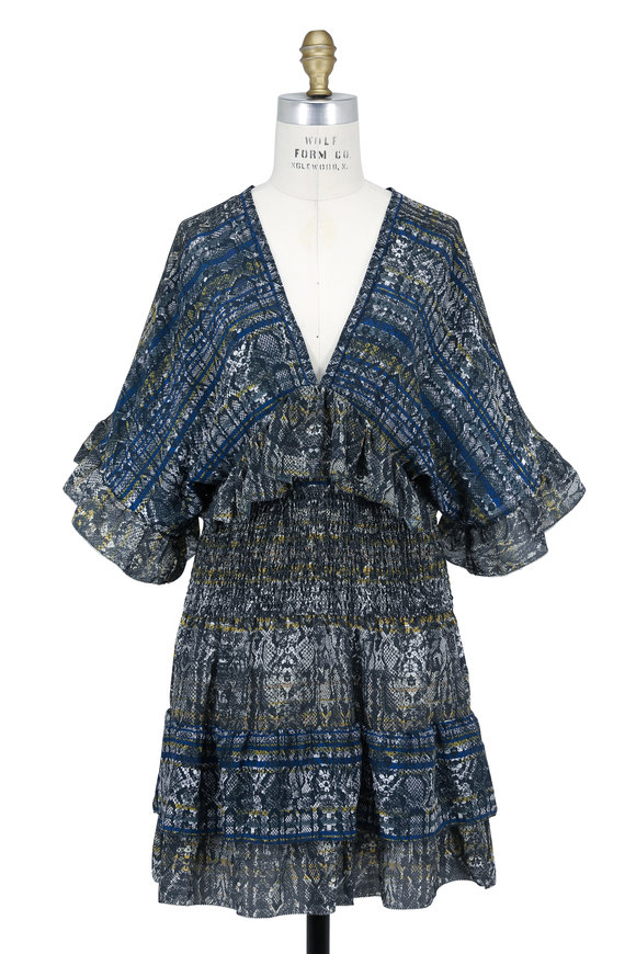 IRO Tulsa Blue Patterned Silk Deep V-Neck Mini Dress